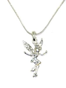 "Tinkerbell Fairy Crystal Necklace CZ Stone, 18"" Snake Chain (1)"